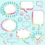 3d bubbles klotter tecknat sketchy anförande för handen stock illustrationer