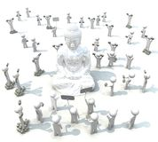 3d Budda and people on white background Royalty Free Stock Images