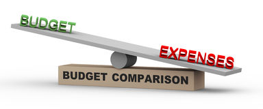 3d budget and expenses on balance. 3d illustration of concept of comparison of budget and expenses. Word expenses is heavier against budget on balance scale Stock Photo