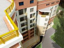3d budynek mieszkaniowy Zdjęcia Royalty Free