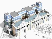 3d budynku projekt royalty ilustracja