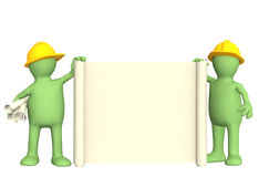 3d builders with roll of document. Puppets - builders with roll of document Royalty Free Stock Photo