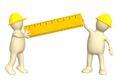 3d builders with ruler. Over white Stock Photography