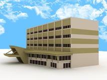 3d building. Colorful 3d building and sky Royalty Free Stock Images