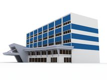 3d building. With blue strips Royalty Free Stock Images