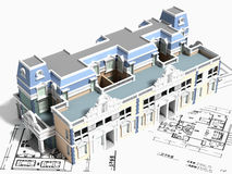 3D building design. A 3D design of a building with layouts Royalty Free Stock Images