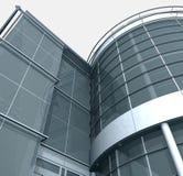 3d Building Glass Corner Entrance Circle and Quadr Stock Photo