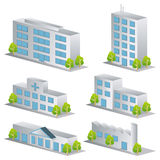 3d building icons set. Architectures image Royalty Free Stock Images