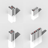 3D building set. 4 diferrent white buildings on a white background Stock Images