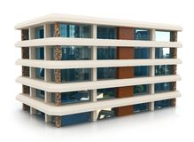 3d building on white. 3d building generic rendered  on white  background Royalty Free Stock Photography