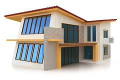 3d building on white. 3d building generic rendered  on white  background Royalty Free Stock Photo