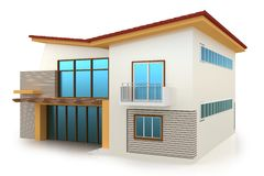 3d building on white. 3d building generic rendered  on white  background Royalty Free Stock Images