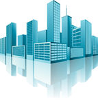 3d Buildings. Model in blue color with reflections, illustrating cold modern city Royalty Free Stock Photo
