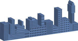 3D buildings. Illustration of 3D buildings with window cutouts Royalty Free Stock Photo