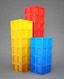 3d buildings. Multicolor 3d buildings  on a grey Royalty Free Stock Photography