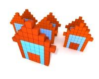 3d buildings like computer icon. 3d orange buildings like computer icon Royalty Free Stock Image