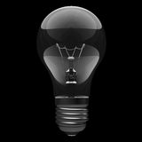 3D Bulb on black background Stock Photo
