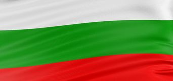 3D Bulgarian flag. With fabric surface texture. White background Stock Images