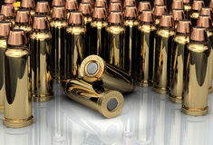 3D Bullets. Brass chrome cartridges standing in line Stock Images