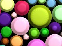 3D - Bunte Bonbons auf Schwarzem Lizenzfreie Stockfotos