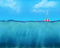3d buoy floating on the ocean. Waterline view royalty free stock photos