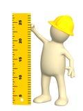 3d burattino - costruttore con il righello illustrazione di stock