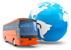 3d Bus travel around the globe Royalty Free Stock Photos