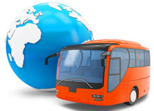 3d Bus travel around the globe. On white background Stock Photography