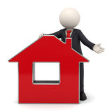 3d busines man presenting a red house. 3d rendered business man in a black suit presenting a red virtual house - with soft shadows Royalty Free Stock Image