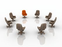 3d business armchairs. Seven brown business armchairs and one red business armchair Royalty Free Stock Image