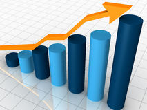 3D business bar graph. A three dimensional business bar graph and trend arrow Stock Photos