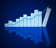 3D business blue chart Stock Image