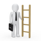 3d business briefcase man hold a ladder. 3d business man with briefcase hold ladder Stock Photo