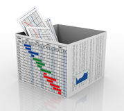 3d business chart in the box. 3d render of business graph report in gantt chart and financial sheet box Stock Photos