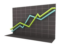 3D Business Chart with Clipping Path Royalty Free Stock Image