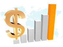 3d business chart with dollar. Illustration Royalty Free Stock Photography