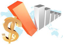 3d business chart with dollar. Illustration Stock Photos