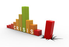 3d business crisis bars. 3d render of financial crisis bars graph chart Stock Photography