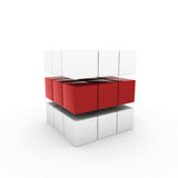 3d business cube blue. 3d business cube red isolated white success teamwork Royalty Free Stock Photography