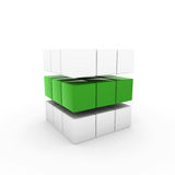 3d business cube blue. 3d business cube green isolated white success teamwork Royalty Free Stock Photo