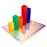 3d business Glassy colorful graph,Bar chart Royalty Free Stock Photo