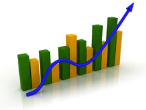 3d business graph. 3d chart, Business Graph with arrow showing profits and gains Royalty Free Stock Photo