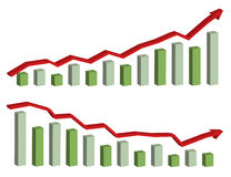 3D business graph. With arrow showing profits and gains,  illustration isolated in white backgorund Stock Photos