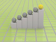 3d business graph. On green background Stock Photography
