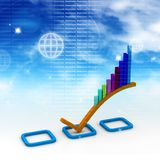 3d Business graph. In abstract background Stock Image
