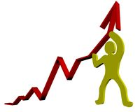 3D Business Graph. Business Graph with arrow showing profits on a white background vector illustration