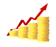 3d business graph with arrow and coins Royalty Free Stock Photography