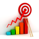 3d business graph concept. Business target marketing concept , 3d business graph with red rising arrow to the red target and wood ladder over white background Royalty Free Stock Photography