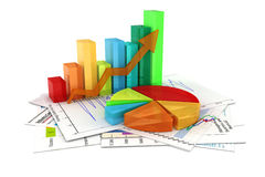 3d business graph and documents Stock Images
