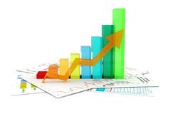 3d business graph and documents Royalty Free Stock Image